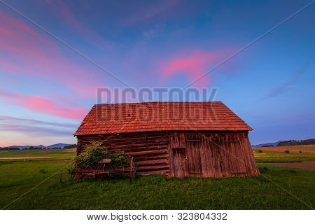 Traditional Barn In Turiec Region, Central Slovakia.