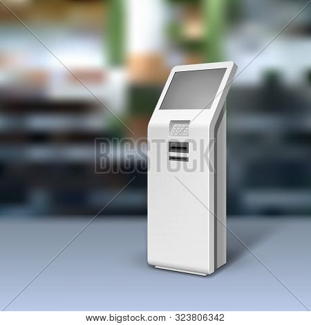 Mockup Payment Information Terminal. Atm, Pos, Poi Advertising Outdoor, Indoor Stand. 3d Mock Up, Te