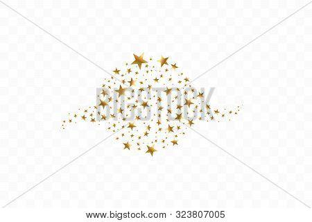 Golden Stars In Circle Vector Illustration. Flat Icon Star Frame Symbol