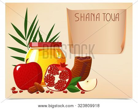 Shana Tova. New Year Banner With Honey, Shofar, Apple, Pomegranate, Fish, Carrot, Palm. Happy New Ye