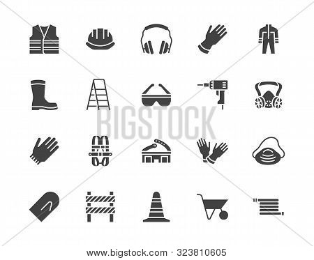 Safety Equipment, Required Ppe Flat Silhouette Icons Set. Protective Gloves Builder Helmet Respirato