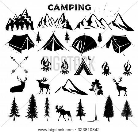 Travel Event. Camping Vector Logo Template For Your Design. Tourist Tent, Forest, Camp, Trees, Camp