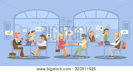 People Meeting In Cafe Flat Vector Illustration. Gadgets Addiction. Couple Dating In Bistro. Busines
