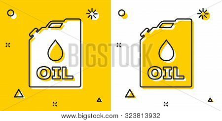 Black Plastic Canister For Motor Machine Oil Icon Isolated On Yellow And White Background. Oil Gallo