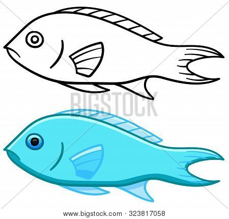 Damsel Fish In Colored And Line Versions