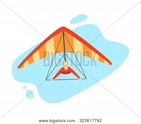 Hang Gliding Character Vector Illustration Isolated On White Background.