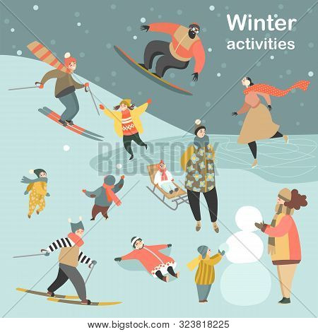 Winter Activities Set With People Skiing, Skating, Snowboarding And Children Making Snowmen And Play