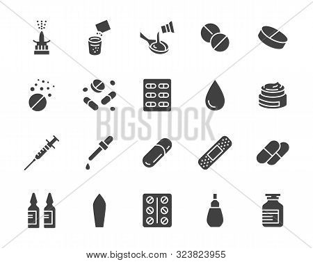 Drug, Pharmacy Medical Silhouette Flat Icons. Vector Glyph Illustration Included Icon As Effervescen