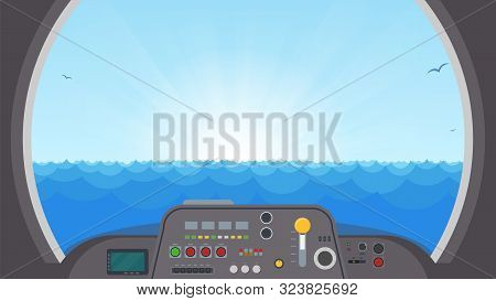 Inside Submarine View. Submarine Interior With Control Panel With Buttons And Lights. View On Ocean