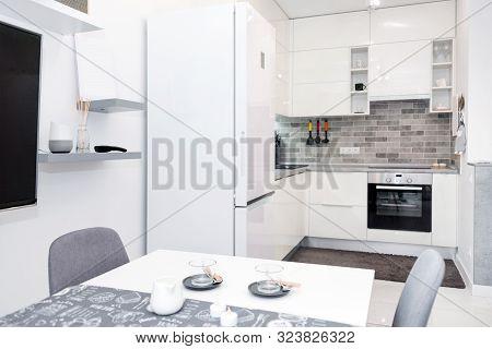 Minimalist Modern Living Room In Loft Style Flat. Modern Loft With Kitchen And Living Room, Open Spa