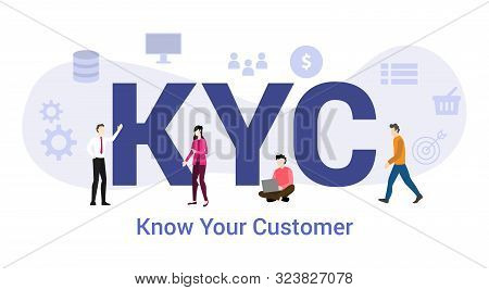 Kyc Know Your Customer Concept With Big Word Or Text And Team People With Modern Flat Style - Vector