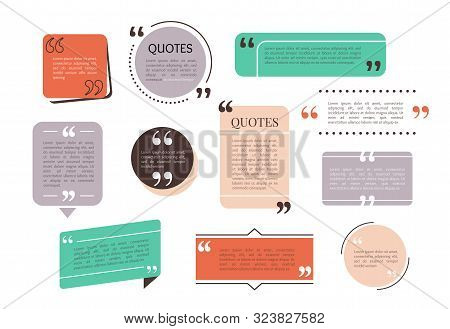 Quote Text Box, Bubble For Comment, Mark Design. Set Of Quotation Banner Template In Flat Modern Sty