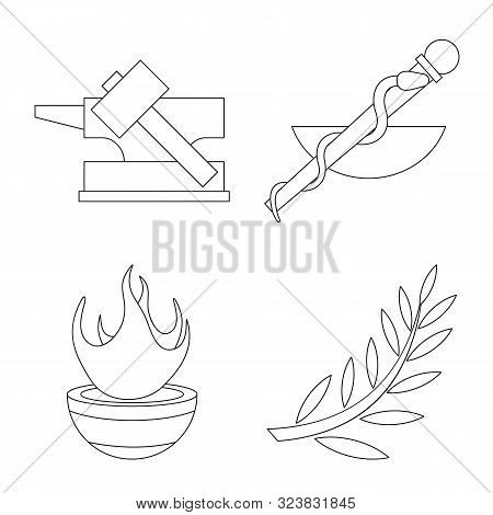 Vector Design Of Mythology And God Logo. Collection Of Mythology And Culture Stock Symbol For Web.