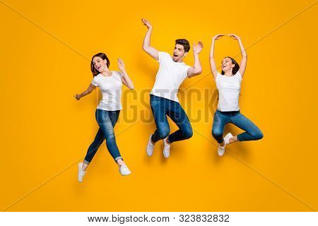 Full Length Body Size View Of Three Nice Attractive Lovely Cute Slim Sporty Cheerful Cheery Adorable