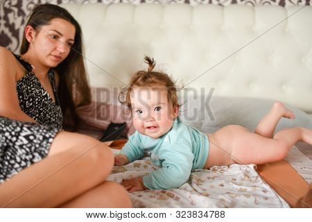 have fun with mommy. Mommy and me have fun together. Close up. Spending time with mother. Single mother poster