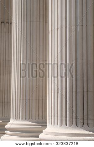 Detail Of Architectural Stone Columns On Building