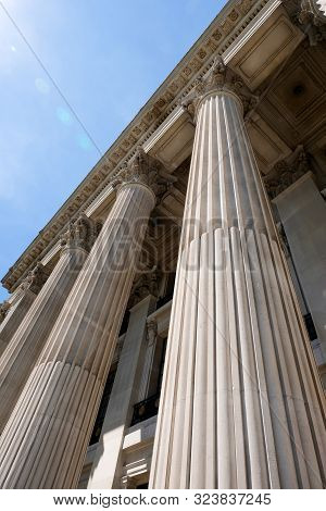 Seen From Below Front Entrance Of Columns To Old Building