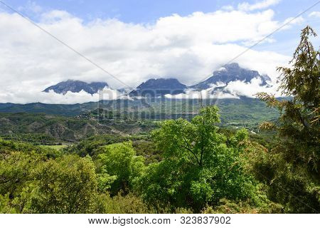 Line Of Cloud Covered Mountains In The French Pyrenees