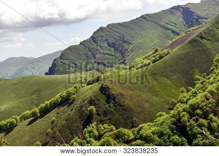 View Of Mountains And Ridges In The French Pyrenees