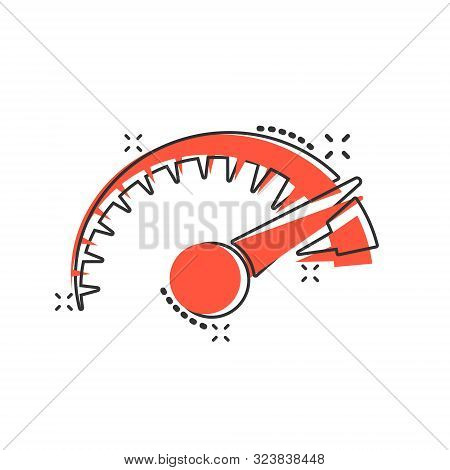 Speedometer Level Sign Icon In Comic Style. Accelerate Vector Cartoon Illustration On White Isolated