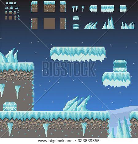 Pixel Art Adventure 8 Bit Game Winter Scene And Quest Creator Of Ground, Texture, Ice, Icicles, Snow