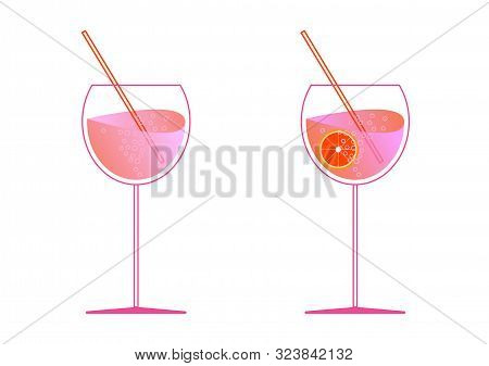 Aperol And Prosecco In Two Glasses. Spritz Cocktail In Flat Style For The Menu, Cocktail Cards. Mode