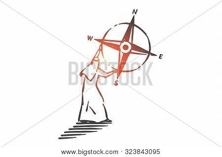 Business Navigation, Leadership Concept Sketch. Muslim Man With Cardinal Points, Arab Businessman Wi