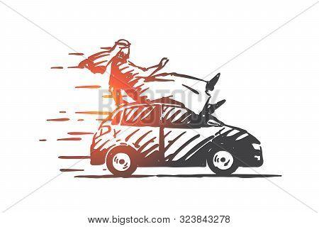 Extreme Car Ride Concept Sketch. Arab Express Transportation Business, Adrenaline Rush Metaphor, Mus
