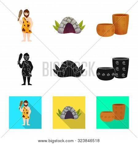 Vector Illustration Of Evolution And Neolithic Symbol. Collection Of Evolution And Primeval Stock Ve