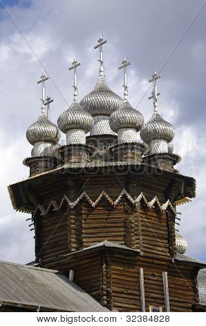 Wooden Churches Of Transfiguration And Intercession. Russia, Kizhi Island.