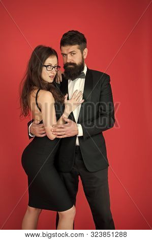 poster of Gentleman and lady. Formal party. Formal gentleman and lady. Couple in love on date. business meetinf of bearded man and woman. esthete. Romantic relationship. bearded gentleman and sexy lady.