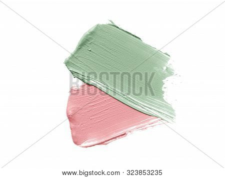 Color Corrector Strokes Isolated On White Background. Green And Pink Colour Correcting Cream Conceal