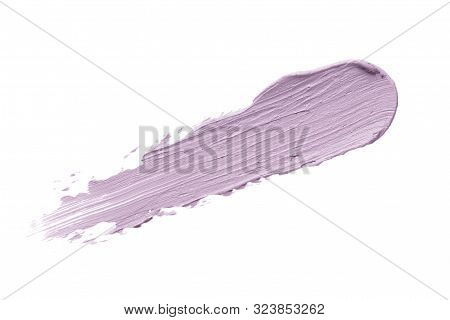 Color Corrector Stroke Isolated On White Background. Lilac Color Correcting Cream Concealer Smudge S