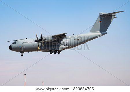 Fairford / United Kingdom - July 12, 2018: German Air Force Luftwaffe Airbus A400m Atlas 5410 Transp