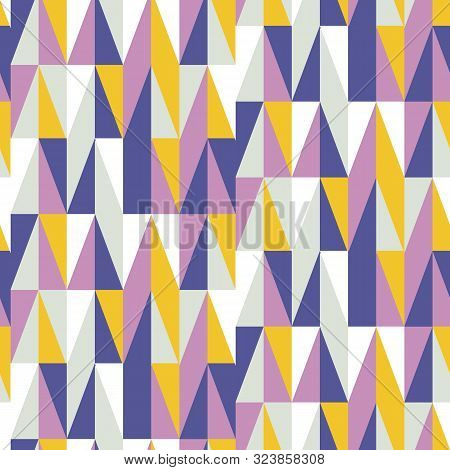 Mid Century Retro Geometric Seamless Pattern, Abstract Creative Fashion Background, 1950s, 70s Vecto