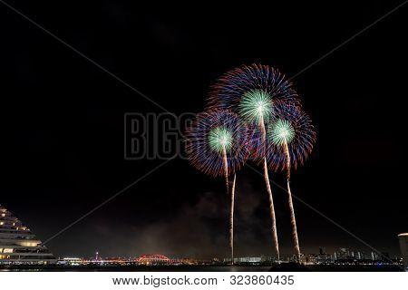 Beautiful firework in summer festival matsuri in Kobe Japan