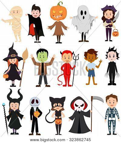 Set Of Children In Costumes For Halloween. Collection Of Cartoon Children In Carnival Costumes. Vect