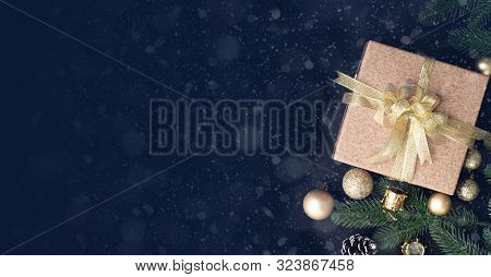 Christmas Gift, Present Box And Christmas Decorations Background, View From Above, Wide Christmas Ba