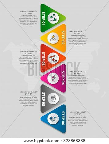 Vector Infographic Template With Triangles And Six Circles. Business Geometric Concept With 6 Option