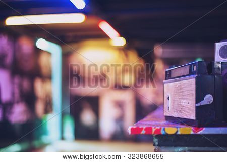 Retro Old Radio, Vintage Analog Radio Tuner, In The Night Colorful Light Night Club