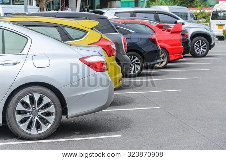 Car Parking In Parking Lot With Colorful