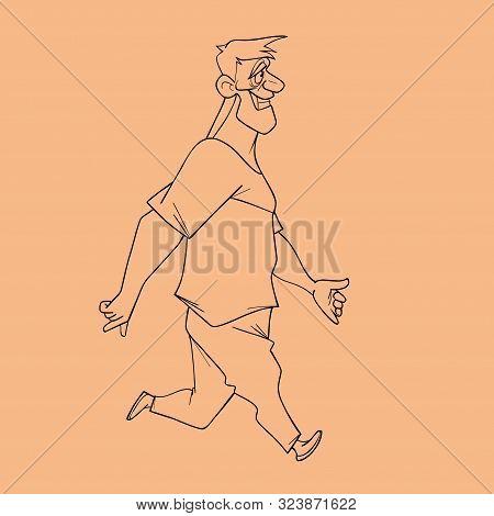 Sketch Of Cartoon Fast Paced Smiling Hefty Joyful Man. View Side