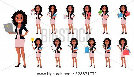 Beautiful Young African American Business Woman In Fashionable Clothes, Set Of Thirteen Poses. Cute