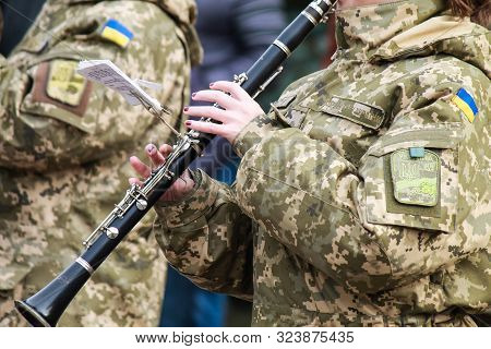14 10 2917, Dnipro, Ukraine. The Flute Is Played By A Musician Of The Military Orchestra Of The Ukra