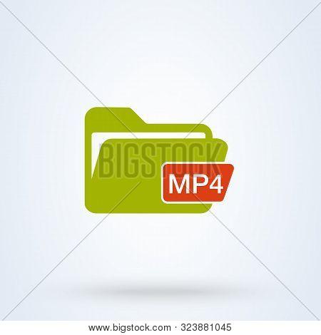 File Video Mp4. Simple Vector Modern Icon Design Illustration.