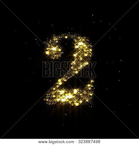 Golden glitter number 2, sparkling gold light and glowing gold particles shine font. Number two of shimmering sequins and glow sparkles on luxury black background