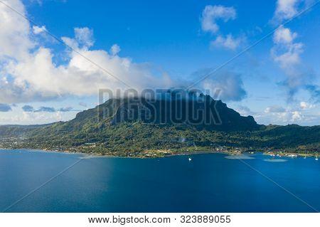 Aerial View From A Drone Of Otemanu Mountain At Bora Bora Island, Tahiti, French Polynesia