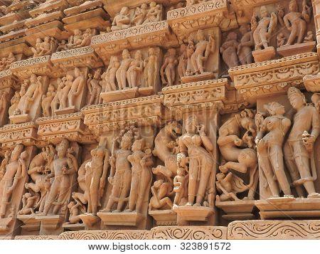 Erotic Human Sculptures At Vishvanatha Temple, Western Temples Of Khajuraho, Madhya Pradesh, India.