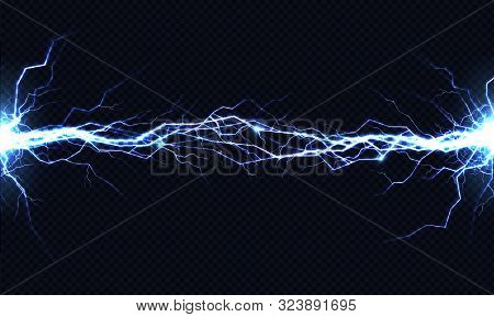 Powerful Electrical Discharge Hitting From Side To Side Realistic Illustration Isolated On Black Bac
