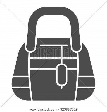 Ladys Handbag Solid Icon. Womans Purse Vector Illustration Isolated On White. Clutch Purse Glyph Sty